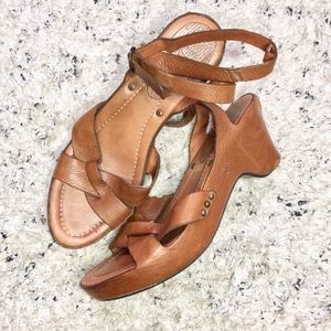 Frye Cognac Leather Low Heel Strappy Ankle Sandals